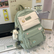 Backpack polyester fiber brand new large zipper campus Double root Japan and South Korea soft juvenile yes Soft handle Solid color Yes female Water splashing prevention Vertical square Mobile phone bag, certificate bag, computer bag polyester fiber Color contrast yes 14 inches Bag with cover