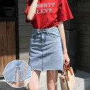 skirt Spring 2021 S M L XL Light blue Short skirt commute High waist A-line skirt Solid color Type A 18-24 years old More than 95% Denim Wrobc / Yin wenshina other pocket lady Other 100% Pure e-commerce (online only)