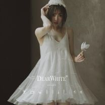 """Wedding dress Summer 2020 Spot """"Pinellia wind 23 days"""", pre-sale """"45 days delivery"""" S,M,L Sweet Skirt hem seaside beach Deep collar V middle-waisted 18-25 years old Sleeveless shawl Other / other"""