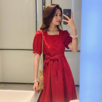 Dress Summer 2021 gules S M L XS Middle-skirt singleton  Short sleeve commute square neck High waist Solid color Socket A-line skirt puff sleeve Others 18-24 years old Type A A hundred shadows Retro More than 95% Chiffon polyester fiber Polyester 100% Pure e-commerce (online only)