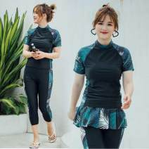 Split swimsuit Other Three piece suit Casual surf swimsuit With chest pad without steel support nylon female Crew neck