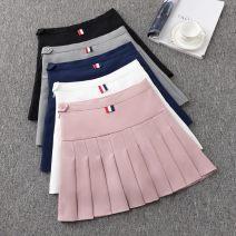 skirt Spring 2021 XS,S,M,L,XL,2XL Black [safety pants], white [safety pants], pink [safety pants], gray [safety pants], Navy [safety pants] Short skirt High waist Pleated skirt Ocnltiy fold