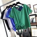 Women's large Summer of 2019 Solid V-neck black, solid V-neck blue, V-neck lace printed blue, V-neck lace printed black, V-neck lace printed white, solid V-neck green M [80-100 Jin], l [100-120 Jin], XL [120-140 Jin], 2XL [140-160 Jin], 3XL [160-180 Jin], 4XL [180-200 Jin] T-shirt singleton  commute