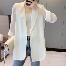 suit Summer 2021 White, black S,M,L,XL,2XL Long sleeves Medium length easy tailored collar No buckle commute routine Solid color 96% and above polyester fiber Ocnltiy