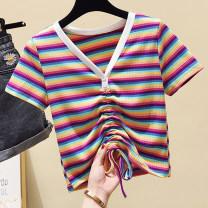 Women's large Summer 2020 8981 light purple stripe, 9503 purple, 9503 Avocado Green, 9503 black, 9503 white, 9503 red M [80-100 Jin], l [100-120 Jin], XL [120-140 Jin], 2XL [140-160 Jin], 3XL [160-180 Jin], 4XL [180-200 Jin] T-shirt singleton  commute easy moderate Socket Short sleeve V-neck routine