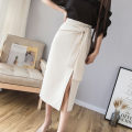 skirt Spring 2021 S,M,L,XL,2XL Apricot, black longuette commute High waist skirt Solid color Type H 18-24 years old 51% (inclusive) - 70% (inclusive) other Ocnltiy other Lace up, asymmetric, strap, zipper Korean version