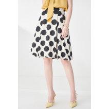 skirt Summer 2021 36,38,40,42,44 black Mid length dress Natural waist A-line skirt Dot Type A 6C51250030 More than 95% Psalter / poem polyester fiber