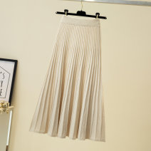 skirt Autumn 2020 Apricot, black, coffee Versatile High waist Pleated skirt Solid color Type A 31% (inclusive) - 50% (inclusive) knitting Other / other other