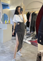 Fashion suit Spring 2021 S M L XL White Short Sleeve Black Grey denim skirt white short sleeve + Black Grey denim skirt 18-25 years old Carmine QD-1233 31% (inclusive) - 50% (inclusive) cotton Polyester 30% other 70% Pure e-commerce (online only)