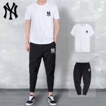 Casual pants NY&VIP Youth fashion S,M,L,XL,2XL,3XL,4XL,5XL thin Ninth pants motion easy get shot NY short sleeve suit summer teenagers tide 2021 middle-waisted Little feet Polyamide fiber (nylon) 90% polyurethane elastic fiber (spandex) 10% Sports pants printing No iron treatment Alphanumeric other
