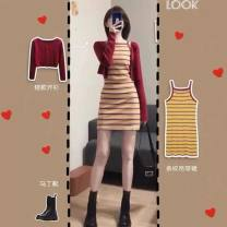 Square Dance Dress S,M,L,XL Red T-shirt, red and yellow striped suspender skirt other Long sleeves Short skirt female Splicing