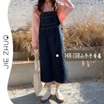 Dress Summer 2021 navy blue S M L XS Mid length dress singleton  Sleeveless commute Loose waist Solid color Socket straps 18-24 years old Type H Jie Zhuo Korean version More than 95% Denim other Other 100%