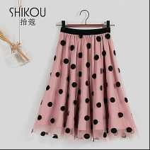 skirt Spring 2021 Average size blue , Apricot , khaki , Pink Middle-skirt Versatile High waist A-line skirt hy121414664633zu Other / other Gauze , Bright line decoration , Solid color