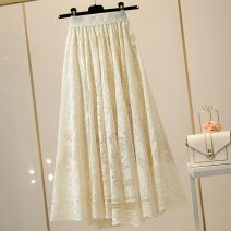 skirt Summer 2020 Average size Black, apricot Mid length dress Versatile High waist Fairy Dress Solid color Type A 18-24 years old LX565BSQ 91% (inclusive) - 95% (inclusive) Lace Other / other polyester fiber Tassels, ruffles, embroidery, Gouhua, hollowing out, waves, stitching, lace
