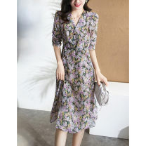 Dress Summer 2021 Purple Floral Dress S M L XL longuette singleton  elbow sleeve commute V-neck High waist Broken flowers other A-line skirt bishop sleeve Others 18-24 years old Type A Korean version More than 95% other polyester fiber Polyester 100% Pure e-commerce (online only)