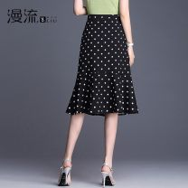 skirt Summer 2020 27 / m two feet, 28 / L two feet one, 29 / XL two feet two, 30 / 2XL two feet three, 31 / 3XL two feet four, 32 / 4XL two feet five Black and white dots Middle-skirt commute High waist skirt Dot ML19F309 other Other / other Asymmetry, wave, zipper, stitching Korean version