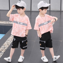 suit Pinbalabala Pink, light blue, orange, white 110cm,120cm,130cm,140cm,150cm,160cm male summer leisure time Short sleeve + pants 2 pieces Thin money There are models in the real shooting Socket nothing other children Learning reward Class B Chinese Mainland Zhejiang Province Huzhou City