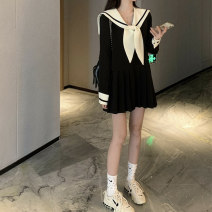 Dress Spring 2021 Black dress, white dress S,M,L,XL Short skirt singleton  Long sleeves commute Admiral High waist other Socket Pleated skirt bishop sleeve Others 18-24 years old Type A Yunfeina Korean version bow GZ2239YFN More than 95% other polyester fiber