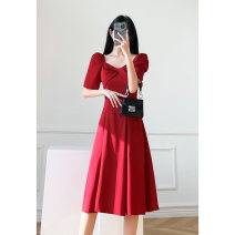 Dress Summer 2021 Red, black, white XS S M L XL Middle-skirt singleton  Short sleeve commute V-neck High waist Solid color zipper A-line skirt routine Others 25-29 years old Type A Love in the July 7th Korean version Zipper resin fixation More than 95% other other Other 100%