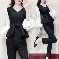 Fashion suit Spring 2021 S (70-90 kg recommended), m (90-100 kg recommended), l (100-110 kg recommended), XL (110-120 kg recommended), 2XL (120-135 kg recommended), 3XL (135-160 kg recommended), 4XL (160-180 kg recommended) Belt for jacket, trousers (suit) 25-35 years old - 96% and above