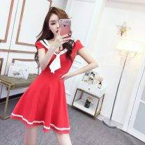 Dress Summer 2020 White, pink, red, black Average size Short skirt singleton  Short sleeve Sweet V-neck middle-waisted Solid color Socket Big swing puff sleeve 18-24 years old Type A Other Bow, open back 3WxQf More than 95% other college