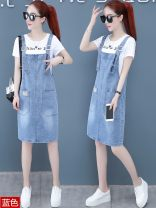 Dress Summer 2020 S,M,L,XL,XXL Mid length dress Two piece set Short sleeve commute Crew neck Loose waist Solid color Socket A-line skirt routine Others 25-29 years old Type A Other Korean version pocket GFDNCMHDEQE8842 71% (inclusive) - 80% (inclusive) Denim cotton