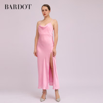 Dress Spring 2021 Pink XS,S,M,L,XL,2XL longuette singleton  Sleeveless commute One word collar High waist Solid color Socket One pace skirt routine camisole 25-29 years old Type H backless 55743DB More than 95% polyester fiber