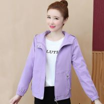 short coat Autumn 2020 S. M, l, XL, 2XL, 3XL, [collection and purchase] priority delivery + Gift Purple, green, black Long sleeves have cash less than that is registered in the accounts routine singleton  easy Versatile routine Hood zipper Solid color Shanglilai 96% and above polyester fiber
