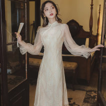 Dress Spring 2021 Apricot S M L longuette singleton  Long sleeves commute stand collar High waist Solid color other A-line skirt pagoda sleeve Others 25-29 years old Type A Ban tongman Retro Lace More than 95% Lace polyester fiber Polyester 100% Pure e-commerce (online only)
