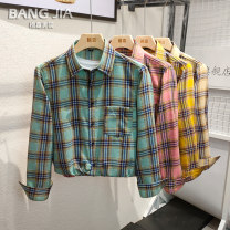 shirt Youth fashion Bangjia M L XL XXL 3XL Yellow green Khaki routine Pointed collar (regular) Long sleeves Self cultivation daily Four seasons BJ205 teenagers Polyester 70% Cotton 30% tide Spring 2021