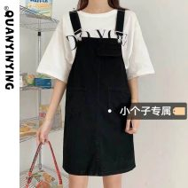 Dress Summer 2021 White black S M L XS Short skirt singleton  Sleeveless commute One word collar High waist Solid color Socket A-line skirt straps 18-24 years old Type A Quan Yin Ying Korean version More than 95% Denim other Other 100% Pure e-commerce (online only)