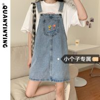 Dress Summer 2021 Grey light blue S M L XS Short skirt singleton  Sleeveless commute One word collar High waist Solid color A-line skirt straps 18-24 years old Type H Quan Yin Ying Korean version 226# More than 95% Denim other Other 100% Pure e-commerce (online only)
