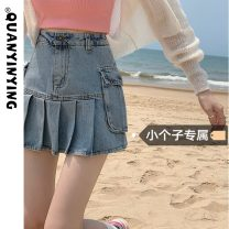 skirt Summer 2021 S M L XS Denim blue black grey Short skirt commute High waist Pleated skirt Solid color Type A 18-24 years old More than 95% Denim Quan Yin Ying other Korean version Other 100% Pure e-commerce (online only)