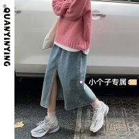 skirt Summer 2021 S M L XS Retro orchid Mid length dress commute High waist A-line skirt Solid color Type A 18-24 years old More than 95% Quan Yin Ying other Button Korean version Other 100% Pure e-commerce (online only)
