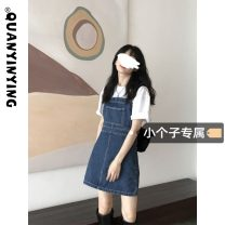 Dress Summer 2021 blue S M L XS Short skirt singleton  Sleeveless commute One word collar High waist Solid color Socket A-line skirt straps 18-24 years old Type A Quan Yin Ying Korean version Strap pocket More than 95% Denim other Other 100% Pure e-commerce (online only)