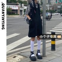 Dress Summer 2021 Floral shirt with back skirt XS S M Short skirt singleton  Short sleeve commute One word collar High waist Solid color Socket A-line skirt routine straps 18-24 years old Type A Quan Yin Ying Korean version Strap pocket More than 95% other Other 100% Pure e-commerce (online only)