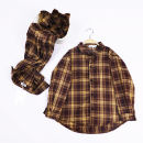 shirt Yellow and Black Plaid Shirt Other / other neutral 80cm, 90cm, 100cm, 110cm, 120cm, 130cm, 140cm, adult s, adult m, adult L, Adult XL, adult XXL summer Long sleeves leisure time lattice cotton Lapel and pointed collar Cotton 95% polyurethane elastic fiber (spandex) 5% T014 other