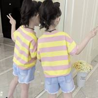 T-shirt Daisy white suit, Daisy black suit, striped pink suit, striped yellow suit Other / other 110cm,120cm,130cm,140cm,150cm,160cm female summer Short sleeve Crew neck Korean version There are models in the real shooting nothing Cotton blended fabric stripe U86431 Class B other 2 years old