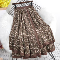 skirt Summer 2021 Average size Brown, black longuette commute High waist Pleated skirt Decor Type A other Ocnltiy other Stitching, printing Retro 251g / m ^ 2 (including) - 300g / m ^ 2 (including)