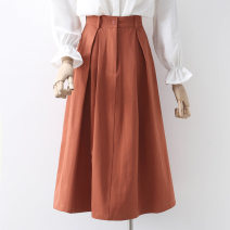 skirt Summer 2021 S,M,L,XL Black, brick red Mid length dress commute High waist A-line skirt Solid color Type A 91% (inclusive) - 95% (inclusive) other Ocnltiy other Korean version