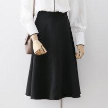 skirt Summer 2021 S,M,L,XL Black, Khaki Mid length dress commute High waist A-line skirt Solid color Type A Ocnltiy Korean version