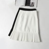 skirt Summer 2021 XS,S,M,L,XL,2XL Black, white, gray, black split, white split longuette commute High waist Pleated skirt Solid color Type A Chiffon Ocnltiy polyester fiber Pleated, zipper Korean version 201g / m ^ 2 (including) - 250G / m ^ 2 (including)