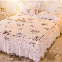 Bed skirt 120cmx200 single bed skirt + pillow case, 150cmx200 single bed skirt + pillow case, 180cmx200 single bed skirt + pillow case, 200cmx220 single bed skirt + pillow case cotton Apricot, light yellow, pink, sky blue, blue Butterfly Kiss Plants and flowers Qualified products