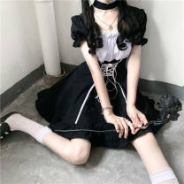 Dress Autumn 2020 Black. [skirt with collar] S M L Short skirt singleton  Short sleeve Sweet square neck A-line skirt puff sleeve 18-24 years old Wutzi Bandage More than 95% other Other 100% solar system