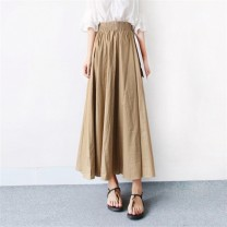 skirt Autumn 2020 S M L XL 2XL 3XL Mid length dress Versatile High waist A-line skirt Solid color More than 95% Be proud of other Other 100%