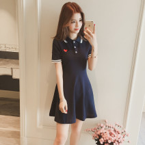 Dress Spring 2021 Navy blue, black S,M,L,XL,2XL Short skirt singleton  Short sleeve V-neck middle-waisted Solid color Socket Princess Dress Princess sleeve Others 18-24 years old Type A Embroidery 71% (inclusive) - 80% (inclusive) other other