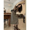 Dress Spring 2021 Coffee, coffee [pre-sale] within 15 working days, coffee [pre-sale] within 30 working days S,M,L longuette singleton  Sleeveless commute other High waist lattice Socket A-line skirt camisole 25-29 years old Type A Other / other Korean version zipper More than 95% other