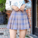 skirt Summer 2021 S,XL,L,M,XXL Light gray Plaid zipper, dark gray Plaid zipper, Navy Blue Plaid zipper, light yellow Plaid zipper, rose red plaid zipper, Pink Plaid zipper longuette commute High waist Pleated skirt Solid color Type A 18-24 years old Plaid pleated skirt 968 other Nylon Haolun other