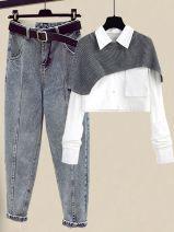 Fashion suit Spring 2021 S,M,L,XL Jeans + white shirt suit, jeans, white shirt suit, apricot shirt suit, jeans + apricot shirt suit 18-25 years old Other / other MVM202012312107
