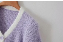 Wool knitwear Autumn 2020 Average size Purple 1488, green 1488 other 31% (inclusive) - 50% (inclusive) V-neck routine Solid color Single breasted